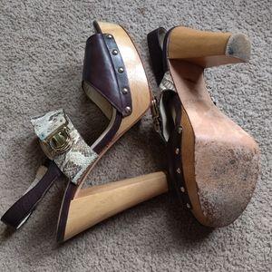 Coach snakeskin wood platform sandals